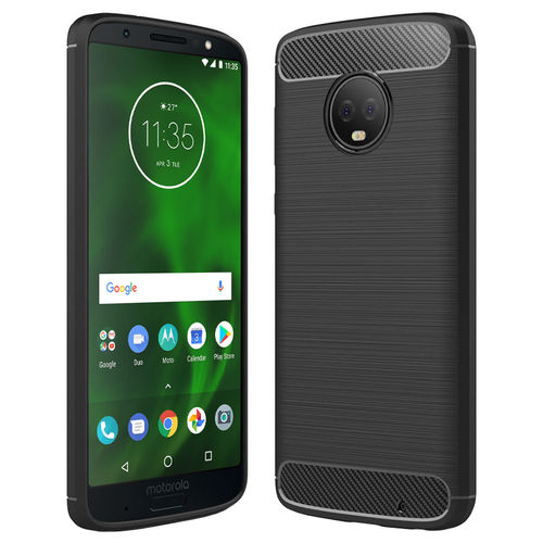 Flexi Slim Carbon Fibre Tough Case for Motorola Moto G6 Plus - Black